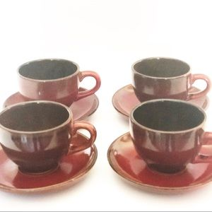Vintage Tea Set Teapot with 4 cups and saucers